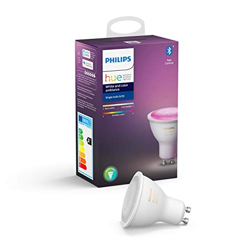 Philips Hue Ampoule LED Connectée White & Color Ambiance GU10 Compatible Bluetooth, Fonctionne avec Alexa