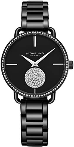 Stuhrling Original Damenuhr Krystal Diamond Analog Zifferblatt und Lünette, Edelstahlarmband 3909 Uhren für Damen Kollektion (Black)