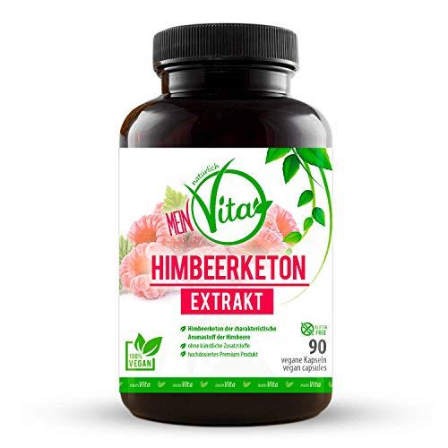 MeinVita Himbeerketon Extrakt - 1350 mg (Tagesportion) - hochdosiert - 100% vegane Kapseln, 90 Stück (53 g)