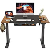 FEZIBO Height Adjustable Electric Standing Desk with Pencil Tray, 48 x 24 Inch Stand Up Table, Sit Stand Desk with Splice Board Black Frame/Espresso and Black Top
