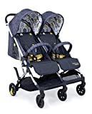 Cosatto Woosh Double Stroller – Lightweight Pushchair From Birth to 15kg, Twins or Siblings - One-hand Fold, Compact, Independent Seats (Fika Forest)