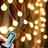 (Remote and Timer)Abkshine 100 LED Warm White Globe String Lights Outdoor, Waterproof Battery Powered LED Starry Light Fairy Light for Patio Umbrella Garden Party Xmas Tree Wedding Decoration