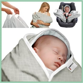 Snugglebundl – Move Without Waking | Car seat Blanket | Best Baby Travel System | Organic Cotton Baby Haze | Ideal Baby Shower Gift | Reduces time Newborns in car Seats for | Elective C-Section