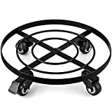 Amagabeli 2 Pack 14' Metal Plant Caddy Heavy Duty Iron Potted Plant Stand with Wheels Round Flower Pot Rack on Rollers Dolly Holder Wheels Indoor Outdoor Planter Trolley Casters Rolling Tray Coaster
