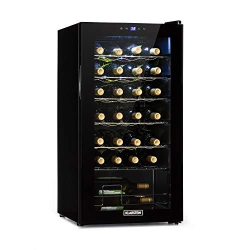 KLARSTEIN Shiraz Uno - Frigorifero Vini, Cantinetta, Frigo Vino, Temperature: 5-18 C, 42 dB, Pannello Soft-Touch, 6 Ripiani, per 28 Bottiglie, Volume: 74 Litri, Nero