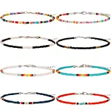 XIJIN 8Pcs Handmade Beaded Anklets for Women Girls Boho Colorful Beads Ankle Bracelets Adjustable Foot Anklet Set