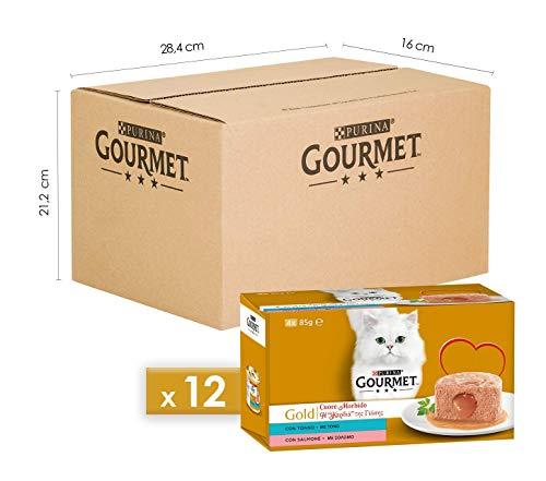 Purina Gourmet Gold Umido Gatto Cuore Morbido con Tonno, Salmone, 48 Lattine da 85 g Ciascuna, 12 Confezioni da 4 x 85 g