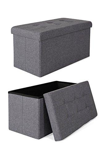 dibea SO00466, Sitzhocker Leinen, Sitzbank faltbar, Aufbewahrungsbox 80 Liter, diverse Farben (76 x 38 x 38 cm, grau)