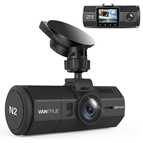 Vantrue N2 Uber Dual Dash Cam, 1080P Inside and Outside Dual Dash Camera, 1.5 inches LCD, Near 360 Degree Wide Angle Lyft Dual Car Cam with Parking Mode, Motion Detection, Front Camera Night Vision