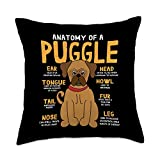 Puggle Funny Anatomy Puggle Anatomy Funny Dog Mom Dad Cute Gift Throw Pillow, 18x18, Multicolor