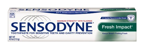 Sensodyne Fresh Impact Sensitivity Toothpaste for Sensitive Teeth and Extra Fresh Taste, 4 Ounce Tubes (Pack of 4)