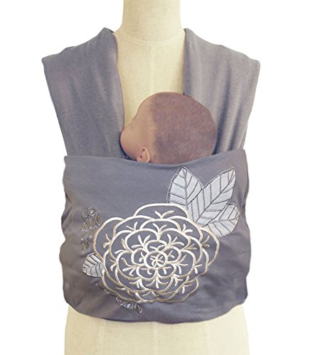Tea Time Baby Infant Wrap Carrier by The Peanut Shell - Grey and White Floral