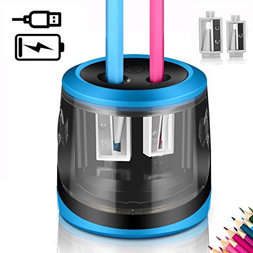 Elektrischer Anspitzer,USB und Batteriebetrieben,ARPDJK 2 Größen Löcher Profi Spitzer Elektrisch,Automatisch Bleistiftspitzer mit Croß Behälter für Dünne & Dicke Stifte, für Künstler Kinder Büro,Blau