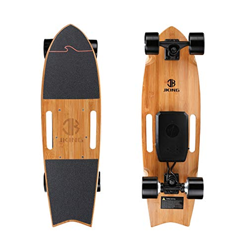 Jking Electric Skateboard Electric Longboard with Remote Control Electric Skateboard,700W Hub-Motor ,16.7 MPH Top Speed,8.2 Miles Range,3 Speeds Adjustment