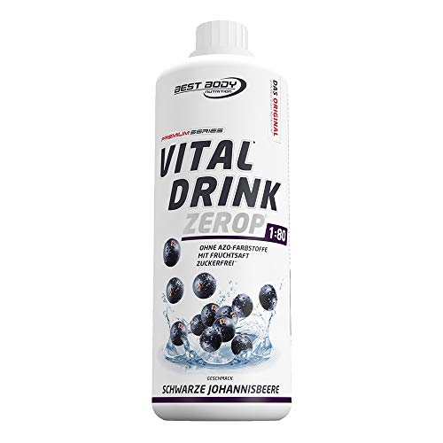 Best Body Nutrition Vital Drink ZEROP - schwarze Johannisbeere, zuckerfreies Getränkekonzentrat, 1:80 ergibt 80 Liter Fertiggetränk, 1000 ml
