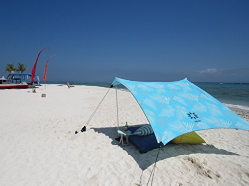 Neso Tents Beach Tent with Sand Anchor, Portable Canopy Sunshade - 7' x 7' - Patented Reinforced Corners(Aqua Fronds)