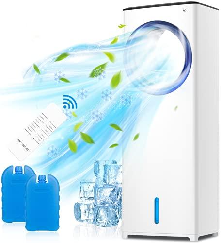 Refroidisseur d'air Portable, QUARED 4 en 1 Climatiseur Sans Lame Mobile Ventilateur Purificateur Humidificateur avec Réservoir D'eau 3.5L, 3 Modes,3 Vitesses, Télécommande, Minuterie, Bureau Salon