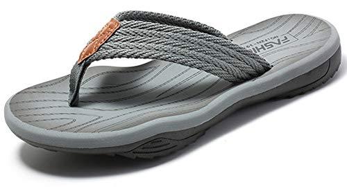 Gaatpot Chanclas para Adulto Mujeres Hombres Verano Sandalias planas Zapatos de Playa y Piscina Plataforma Flip-Flop Gris 46EU=47CN