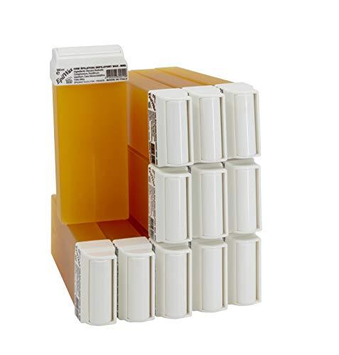 Epilwax 12 Cartuchos Roll-On de Cera Depilatoria Tibia Cera roll on de 100 ml Miel cera profesional de alta calidad para Depilación con Bandas Depilatorias des las piernas, axilas, y el cuerpo