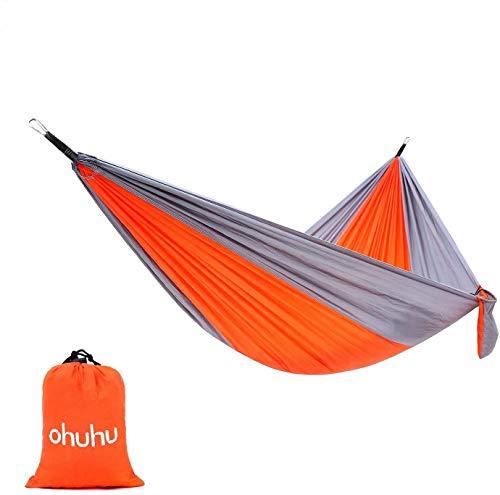 "Ohuhu Portable Nylon Fabric Travel Camping Hammock, 115"" Long X 55"" Wide, 600-Pound Capacity, Orange & Gray"