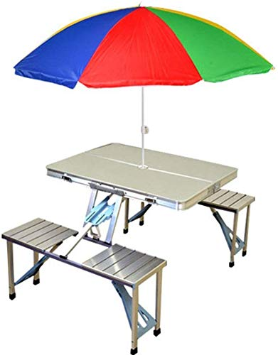 PremEnterprise (Label) Aluminium Portable Folding Picnic Table and Chairs with Umbrella (Set of 1)