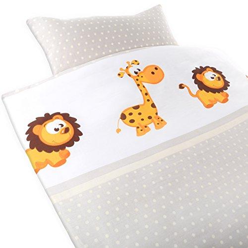 Gräfenstayn® 2-tlg. Kinderbettwäsche Set mit Tiermotiv und integriertem Reißverschluss - aus 100% Baumwolle (Renforce-Qualität) - Deckenbezug 135x100cm und Kissenbezug 60x40cm (Giraffe & Löwe)
