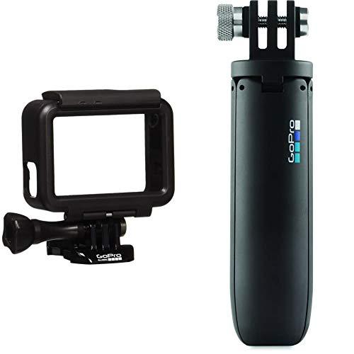 GoPro The Frame Cornice di Ricambio per HERO5 Black, Nero, (AAFRM-001) & AFTTM-001 Mini Treppiede per Telecamere, Nero