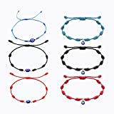 Evil Eye Bracelet, 6Pcs Adjustable Red String Amulet Ojo Turco Bracelet Suitable for Women Men And Children, To Protect Family And Friends from Harm And Bring Them Good Luck