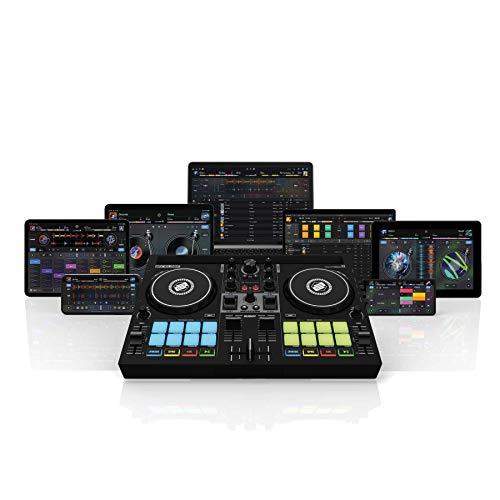Reloop Buddy controller DJ compatto a 2 canali per Algoriddim DJay su iOS, PadOS, Android, Mac e PC con pad prestazioni RGB, paddle FX e controlli Neural Mix
