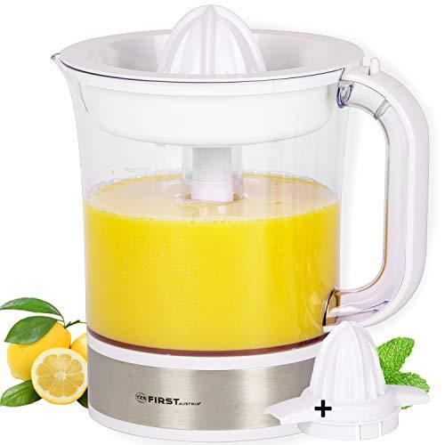 TZS First Austria - 1,5 L Zitruspresse Edelstahl Saftpresse weiß BPA frei, Citrus juicer, Orangensaftpresse, elektrische Zitronenpresse, spülmaschinenfest, Fruchtfleischeinstellung 40W Saftbehälter