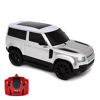 CMJ RC Cars Land Rover Defender Official Licensed Remote Control Car 1:24 with Working LED Lights, Radio Controlled Supercar (Range Rover Silver)