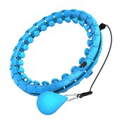 Dumoyi Smart Weighted Hoola Fitness Hoops for Adults Weight Loss, 24 Detachable Knots, 2 in 1 Adomen Fitness Message, Great for Adults and Beginners (Blue)