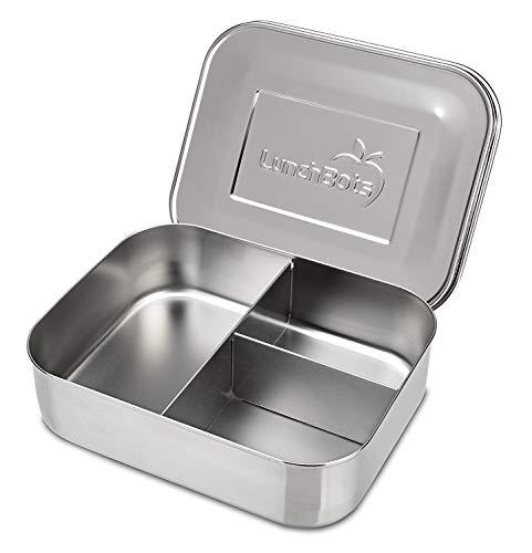 Trio 2 Edelstahl Nahrungsmittelbehälter – Drei Abschnitt Design, perfekt für gesunde Snacks, beilagen oder Finger Foods – Spülmaschinenfest und BPA frei – Komplett Aus Edelstahl