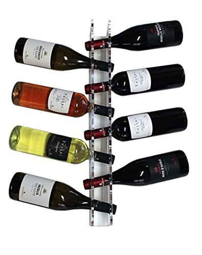 Agplex - Cantinetta portabottiglie verticale da parete in plexiglass. Capacit da 6 a 10 bottiglie di vino - Espositore trasparente per vini - personalizzabile