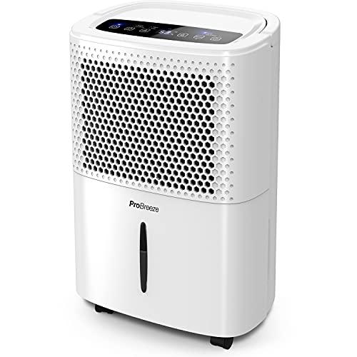 Pro Breeze Deshumidificador 12L/día con Pantalla LED, Sensor de Humedad, 3 Modos, Drenaje Continuo, Secado de Ropa y Temporizador. Elimina Humedad y Condensación de la Casa