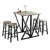 SoBuy® OGT24-N Set de 1 Table + 4 Chaises Ensemble Table de Bar bistrot + 4 tabourets Table Mange-Debout Table Haute Cuisine Table à Manger Table de Balcon avec Repose-Pieds Table Pliante