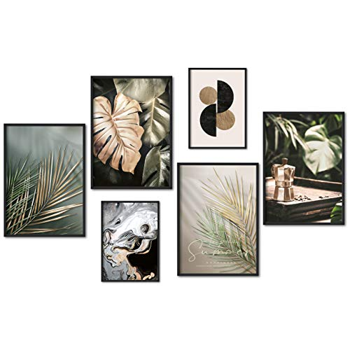 myestado - Premium Poster Set Bilder Wohnzimmer Modern Schlafzimmer Bild für Ihre Wand - ohne Rahmen - 4 x DIN A3 & 2 x DIN A4 - ca. 30x42 & 21x30 » Gold Leaf «