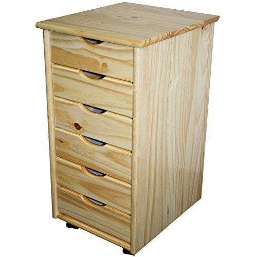 KMH®, Rollcontainer/Schubladencontainer/Bürocontainer mit 6 Schubladen Kiefer massiv (Natur) (#201124)