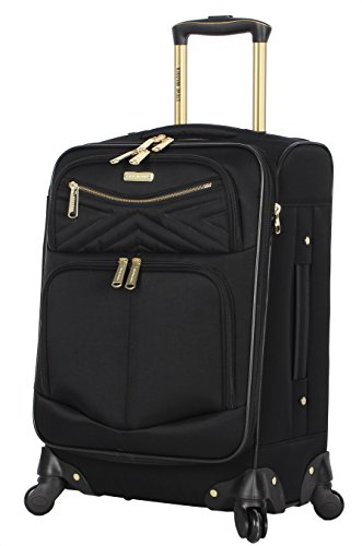 Steve Madden Designer 20 Inch Carry On Luggage Collection - Lightweight Softside Expandable Suitcase for Men & Women - Durable Bag with 4-Rolling Spinner Wheels (Rockstar Black, 20in)