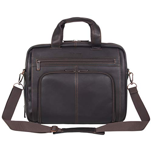 Kenneth Cole Reaction Reaction Manhattan Colombian Leather Expandable RFID 15.6' Laptop Business Briefcase Bag, Brown
