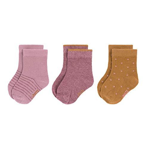 Lssig Calzini per Neonati/Bambini in Cotone Biologico GOTS, Confezione da 3, Multicolore (Palissandro), Taglia: 19-22