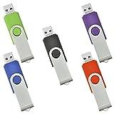 5 Pièce Clé USB 2 Go Mémoire Flash Rotation Disque USB 2.0 (Couleur Mixte:...