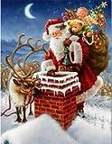 NO BRAND Punto de Cruz Diamante 5D Diamond Painting Santa Gift Conjunto de Punto de Cruz Diamante Cuadrado con Incrustaciones de Diamantes Bordado Navidad Inicio DIY sin Marco 30x40cm WYLUWLI