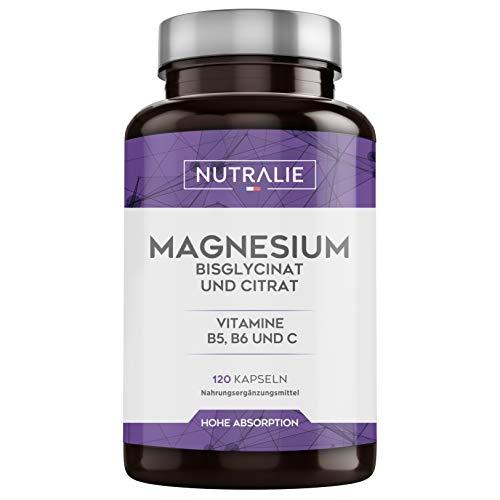 Magnesium und Vitamin B5, B6 und C | Magnesiumbisglycinat und Magnesiumcitrat 100{c0e15f2d80aabcb4748a21e9cc374c28cf3ad7e1b9ddc17c3b05807a407aab6b} Bioverfügbarkeit | 120 Kapseln je 715 mg | Nutralie