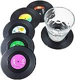 Dr.JIEER Lot de 6 dessous de verre rétro pour CD Noir,sous...