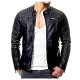Veste Cuir Homme Vintage Mode Pas Cher Blouson Moto Slim Fit Manteau Automne Hiver Col Montant A Manche Longues Grand Taille Jacket