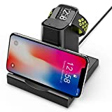 2 in 1 Compatible for Fitbit Versa 1 Charger/Lite Edition/Special Edition Smartwatch,Hagibis Replacement Charging Dock Station with Cell Phone Holder Stand Charging Clip for Versa 1 [Not for Versa 2]