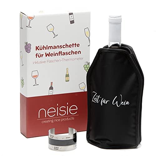"""neisie ® Kühlmanschette """"Zeit für Wein"""" inkl. Flaschenthermometer – kühlt schnell &..."""