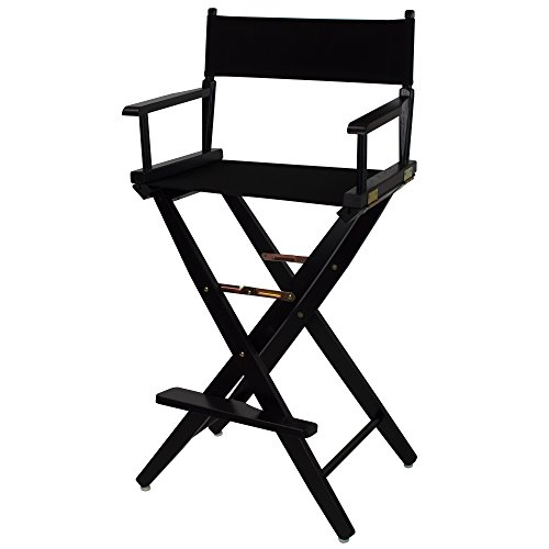 American Trails Extra-Wide Premium 30' Director's Chair Black Frame with Black Canvas, Bar Height