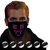 LED Sprachaktivierte leuchtende Nase-Mundschutz,mit 6 Farblichter Motiv,Flashing Glowing,Multifunktionstuch Halstuch für Party Bar Abend Masquerade Festival Tanzen (A,mit 1Filter)